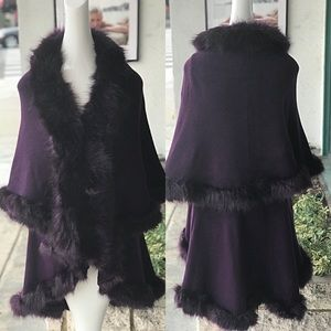 ELEGANT Purple Faux Fur Double Layer CAPE Coat